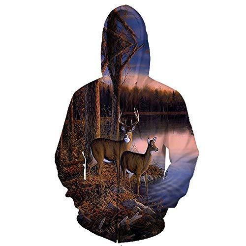 SHUAIFA Sudadera unisex con cremallera impresa en 3D, diseo de ciervo Sika