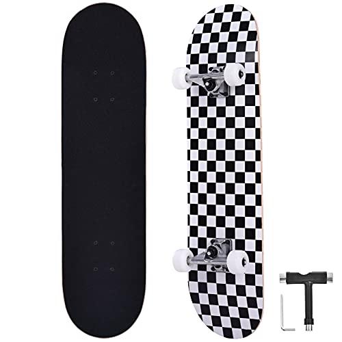 Bellanny Completo Skateboard para Principiantes 31.5x8inch, 9 Capas de Madera de Arce Monopatin, Carga de 100 Kg, para Adolescentes Niñas Niños Adultos