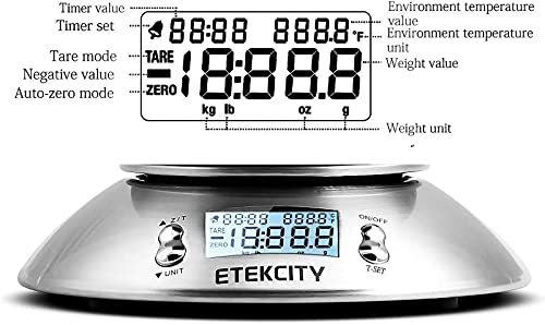 ETEKCITY Bilancia Cucina Digitale, Bilancia da Cucina Elettronica in Acciaio Inossidabile 5kg/ 11lb con Ciotola Rimovibile, Funzione Tare, Timer Allarme, Indicatore Temperatura, Display LCD, Argento