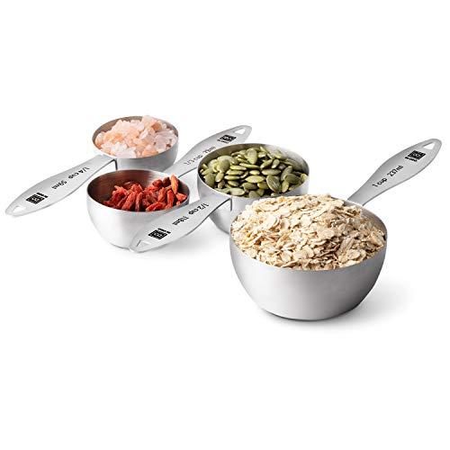 DI ORO® Edelstahl Messbecher Set - Messungen leicht abzulesen - Für trockene und flüssige Zutaten - Hervorragende Küchenutensilien zum Kochen und Backen - Spülmaschinenfest