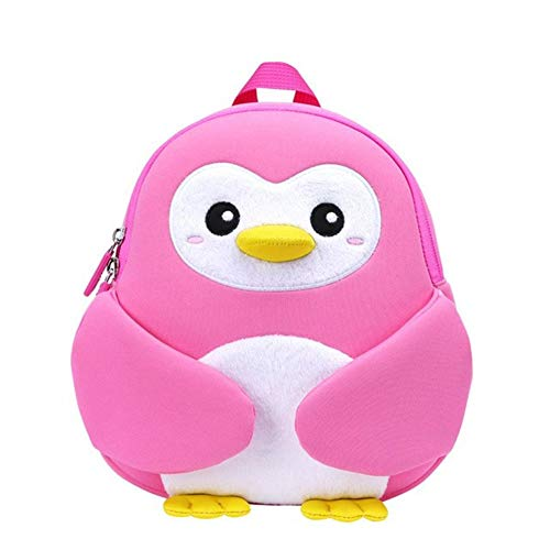 YLJY 2 to 4 years old beautiful school bag kids children's backpack 3D cute cartoon school bag gift toddler boy girl penguin (Color : Pink, Size : A)
