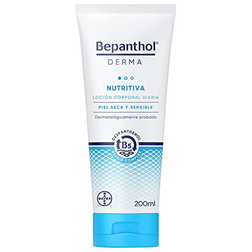 Bepanthol Derma Nutritiva, Loción Corporal, Hidratación Inmediata y Duradera, Piel Seca y Sensible, Uso Diario, 200 ml