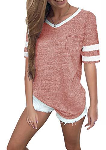 Ehpow Damen Kurzarm T-Shirt V-Ausschnitt Casual Sommer Lose Shirt Oversize Oberteile (Large, Rosa)