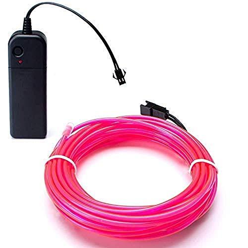 EL Wire 5M(16.4ft)Neon Beleuchtung Draht Lichtschlauch Leuchtschnur Kabel Wire für Partybeleuchtung Weihnachtsfeiern Disco Party Kinder Kostüm Kleidung (Rosa)