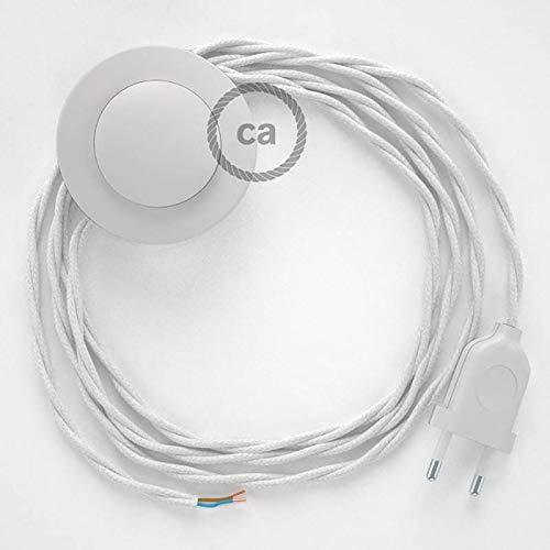 Cordon pour lampadaire, câble TC01 Coton Blanc 3 m. Choisissez la Couleur de la fiche et de l'interrupteur! - Blan