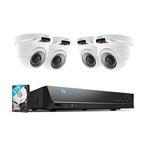 Reolink 8CH 4MP Kit de Cámara Vigilancia Exterior, con 4X 1440P Super HD Cámaras Seguridad IP Impermeable y 8 Canales 2TB HDD NVR para 24/7 Grabación, Visión Nocturna Audio Acceso Remoto, RLK8-420D4
