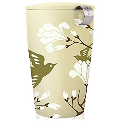 Tea Forte Kati Cup Ceramic Tea Infuser Cup with Infuser Basket and Lid for Steeping, Birdsong