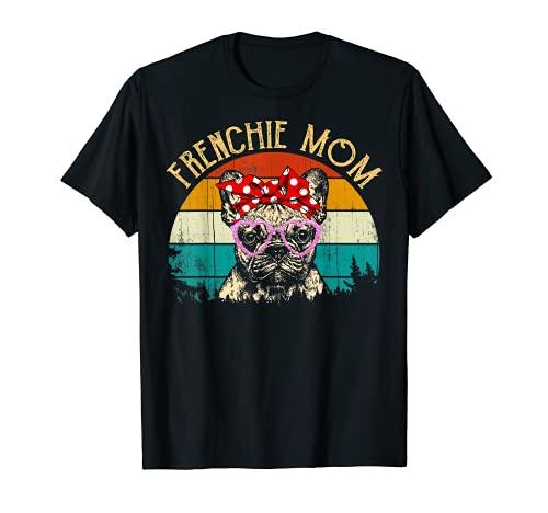 Frenchie mom Gift Vintage Retro Style French Bulldog Mom T-Shirt