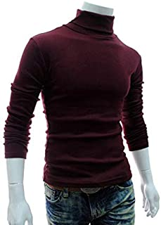 Men's Pullover Shirt Long Sleeve High Collar Knit T-shirt