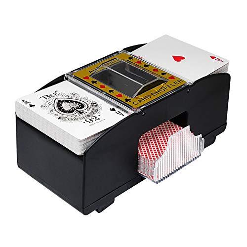 Yokawe Mélangeurs de Cartes Automatiques Mélange de Cartes de Poker électroniques à 2 Ponts Jeu de Cartes à Jouer à Piles Outil de Jeu de Cartes pour Le Cartes de Jeu de Rami Bridge