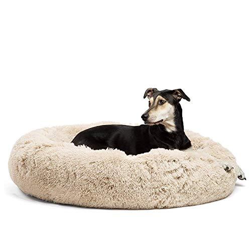 Fangqiyi Hundebett rund Hundekissen Hundesofa Katzenbett Donut, leicht zu entfernen und zu waschen, rutschfest und atmungsaktiv, 50-120cm