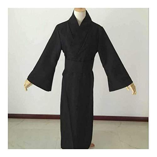 GODVC Traje Cosplay japonés Estilo de los Hombres Negro clásico de Halloween Samurai Ropa Tradicional Yukata Haori Guerrero Kimono con OBI (Color : Negro, Size : M)