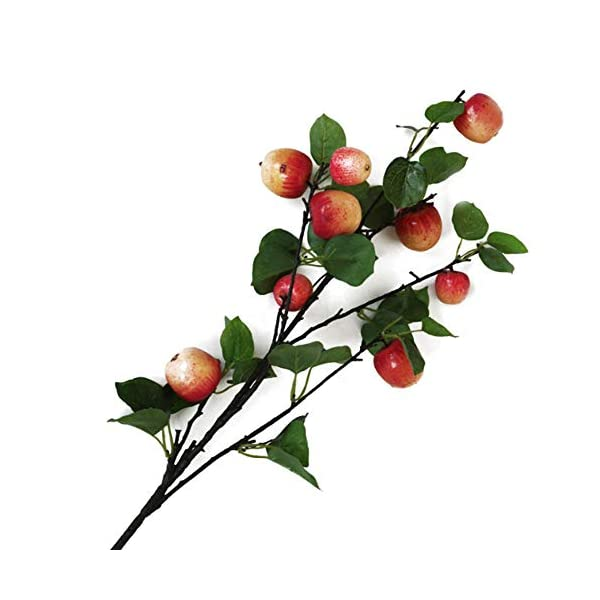 MOOBOM Artificial Apple Branches,Simulation Apple Tree Plants,Red and Yellow Fake Apple Stems Decor,Decorative Fruit Branch for Home Party Garden Decoration