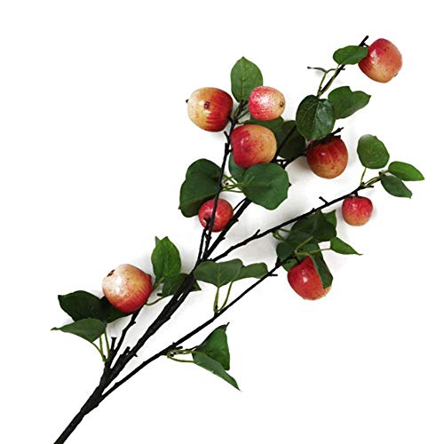 Okngr Artificial Flowers, Simulation Apple Branch Artificial Flower Branches Red Blossom Flowers Simulation Flower Fake Flowers Photography Props Flowers for Home Wedding Party Decoration