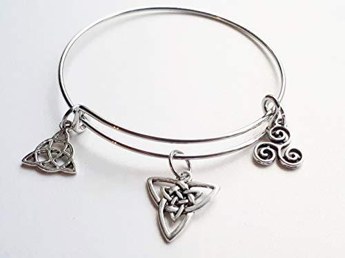 Celtic Charm Bangle Bracelet Triskelion, Triskele, Celtic Knotwork Triple Spiral