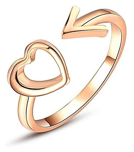 XIAOGING Creative-Höhle-Herz-Design Öffnen Sie Ring-Charme Adjustable-Band-Ring Schmuck Accessoires Geschenk for Frauen Mädchen (Farbe : Golden)