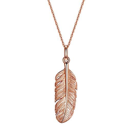 Glanzstücke München Damen-Silberhalskette Feder Sterling Silber rosévergoldet 70 cm - Halskette Feder Rosegold lange Kette mit Anhänger