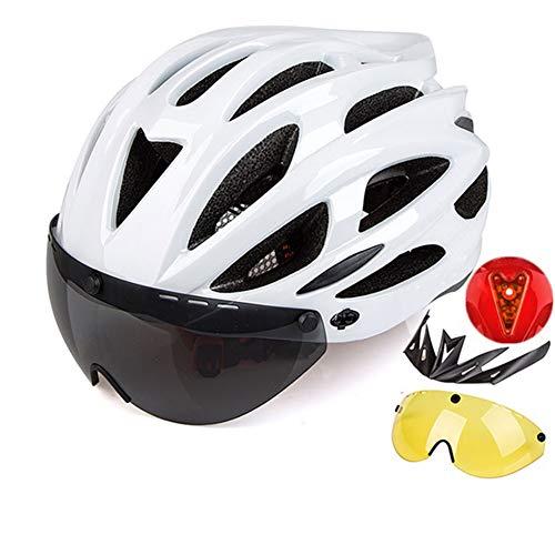Männer Frauen Fahradhelm Mit Lichter,Abnehmbare Magnetbrille Sicherheit Einstellbar Berg Straße Fahrradhelm Reithelm Rücklicht G