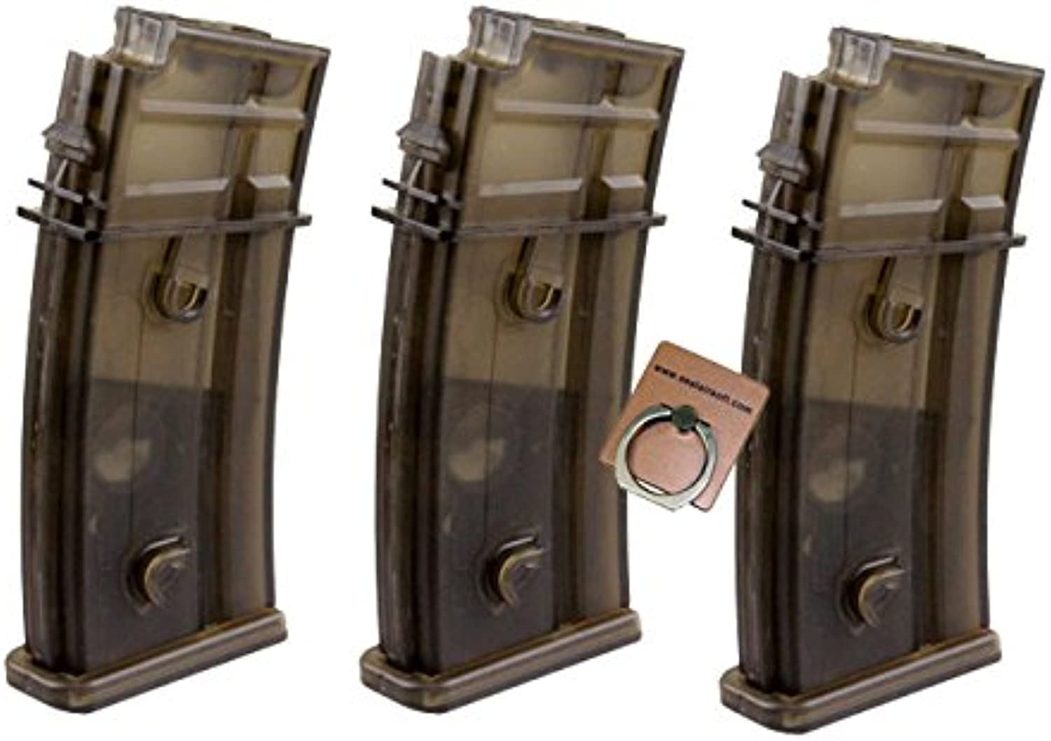 CYMA 470rd HiCap Magazine for G36 G36C Series Airsoft AEG X 3pcs Mobile Ring Included