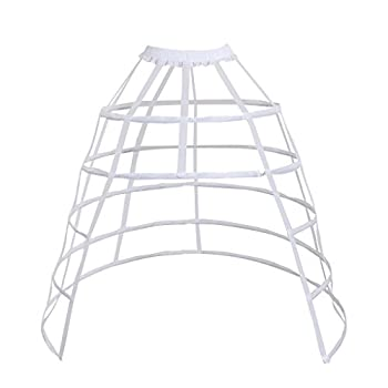 DUNHAO COS Women s Rare Vintage Cage Pannier 5 Hoop Skirt Victorian Bustle Petticoat  Front Open White