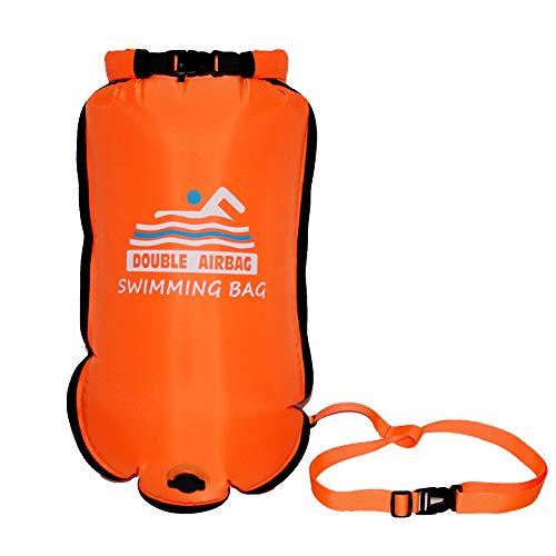 Flotar Doble Portable del Bolso Seco De Deriva Bolsa De Natación Inflable Seguridad De Las Bolsas De Aire para Natación Y Deportes Acuáticos (Naranja)