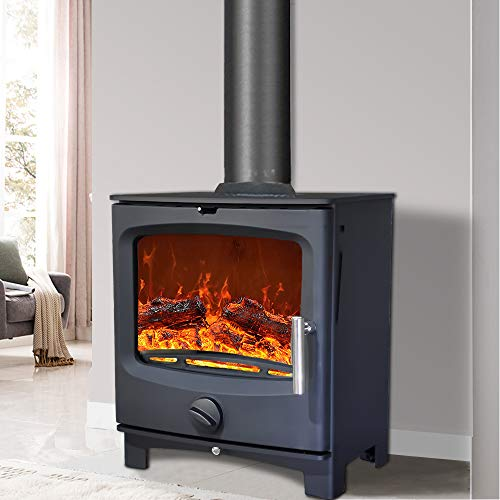 NRG 5KW Contemporary Woodburning Multifuel Stove Eco Design High Efficiency Fireplace Defra Approved