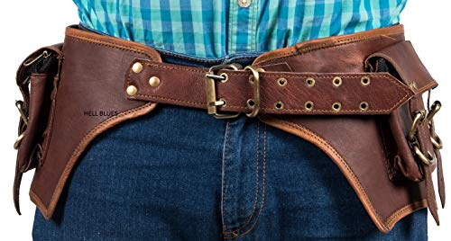 Hell blues Genuine Leather Large Utility 2-Pouch Handmade Vintage Practical Waist Fanny Pack ~ Men Women leather utility belt halloween costume props,Brown (Adjustable 32'-45')