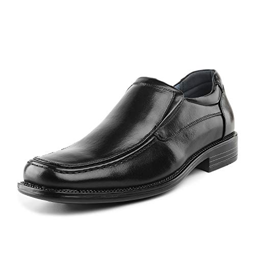 Black Leather Dress Shoes for Men Square Toe
