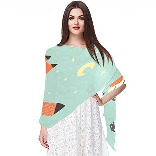 WJJSXKA Bufandas para mujer, estampado liviano, estampado floral, bufanda, chal, bufandas de moda, chales de protección solar, baby shower, zorro, hola bebé