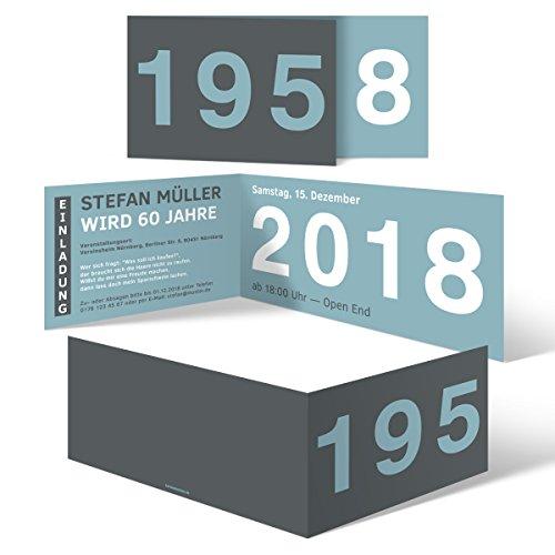 30 x Runder Geburtstag Einladungskarten 60 Jahre Geburtstagseinladungen - Jahrzehnt Sprung
