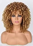 CurlCoo Short Curly Afro Wig With Bangs for Black Women Kinky Curly Hair Wig Afro Synthetic Heat Resistant Full Wigs(Ombre Blonde)