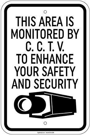 """Metallschild, Aufschrift """"This Area is Monitore"""", Aufschrift CCTV Your Security, 20,3 x 30,5 cm"""