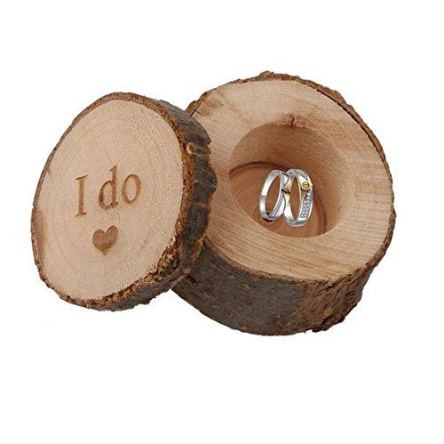 Creativo di legno anello Rustic Wedding portatore casella personalizzata Box Ring (I do)