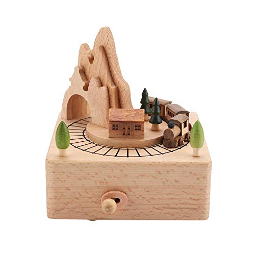Hölzerne Spieluhr schöne kleine Zug Holz Spieldosen Holz Musikboxen klassische Holz Handwerk für Geburtstags Home Dekoration Beste Geschenke