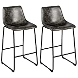 COSTWAY Set of 2 Bar Stool, Vintage Faux Suede Bar Stools, with Metal Legs, Back and Footrest, Upholstered Stool Chairs for Home Kitchen, Office, Pub (Grey, 2)