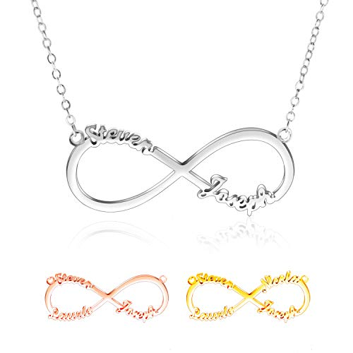Amlion Personalised Necklaces -925 Custom Infinity Necklace- 2,3,4 Name Necklace for Women, Friendship Necklace - Personalised Gift
