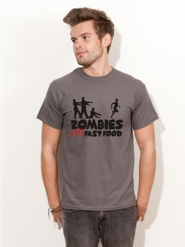 BIGTIME.de Herren T-Shirt Halloween Zombies Hate Fast Food Fun Shirt grau H19 - Größe XXL