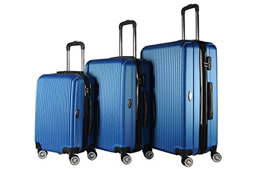 Brio Luggage Hardside Spinner Expandable Suitcase Set (Royal Blue)