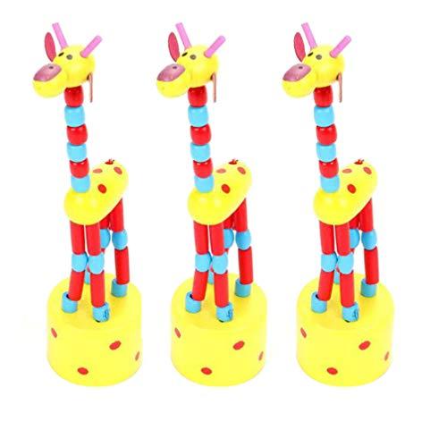 TOYANDONA 3Pcs Jirafa Columpio Juguete Madera Dibujos Animados Animales Dedos Juguetes Escritorio Baile Marionetas para El Hogar Decoración de La Habitación de Los Niños Regalos de