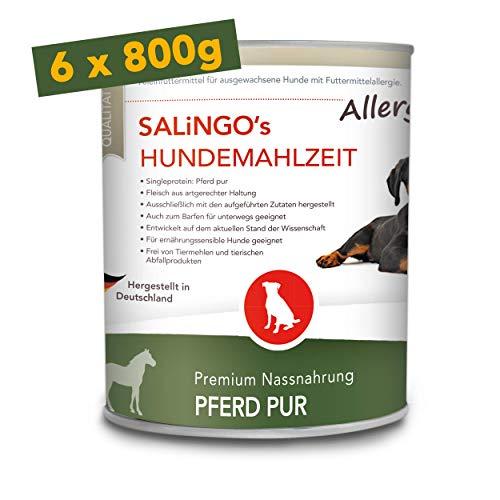 SALiNGO Premium Nassfutter für Hunde | Pferd PUR | getreidefrei | hoher Fleischanteil | hypoallergen | Barf Alternative (6x800g)