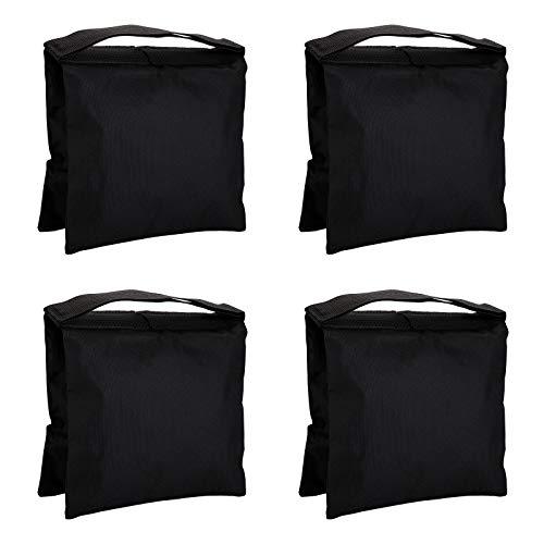 Fasmov 4 Pack Heavy Duty Photographic Sandbag Studio Video Sand Bag for Light Stands, Boom Stand, Tripod(Black)