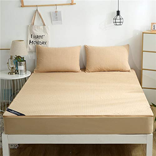 QWEASDZX Cotton Sheets, Double Mattress Cover, Removable Dust Cover, Non-Slip Bedding 150X200x15cm
