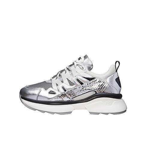 Nero Giardini E010797D Sneakers Donna in Pelle, Tela E Vernice - Argento 38 EU