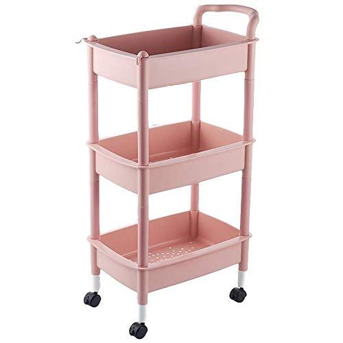 HUANXI 3-Etagen Küchenrollwagen auf Rollen,Rosa Plastik Aufbewahrung Regal mit Ergonomischen Griffen für Kithchen Badezimmer