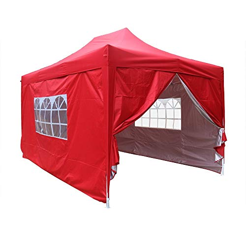 Greenbay Red Heavy Duty Pop-up Gazebo Marquee Canopy with 4 Side Panels and Carrybag - 2m x 2m