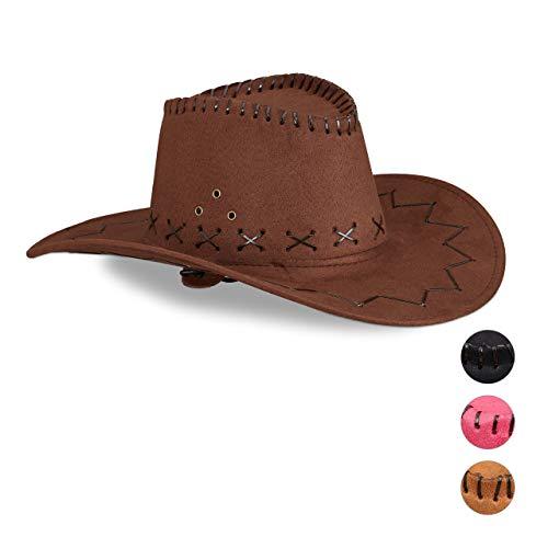 Relaxdays 10024992_746 Cowboyhut Fasching, Westernhut, Erwachsene, im Westernstyle, Karneval, mit Kopfband, Faschingshut, Dunkelbraun, Unisex