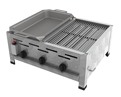ChattenGlut Professional Gastrobräter 3-flammig - freistehendes Tischgerät aus Edelstahl mit Edelstahlbrenner - 13,5 kW, regelbar für Flüssiggas, mit Kombi 1er Rost und 1er Pfanne, 650x530x270 mm