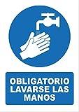 Señal obligatorio lavarse las manos - PVC 0,7mm - 21 x 30cm – cartel obligatorio lavarse las manos - señal obligación.