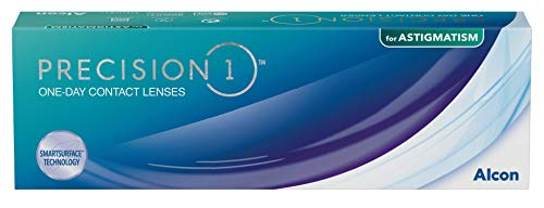 PRECISION1 Lentillas tóricas diarias, Pack de 30, R 8.5 mm, D 14.5 mm, cilindro -0.75, eje 180, -6.00 Diopt