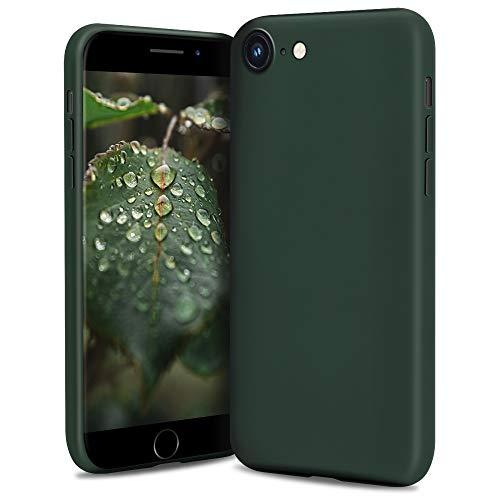 Moozy Lifestyle. Cover per iPhone SE 2020, iPhone 8 e iPhone 7, Verde Scuro - Custodia in Silicone con Finitura Opaca, Fodera Morbida in Microfibra